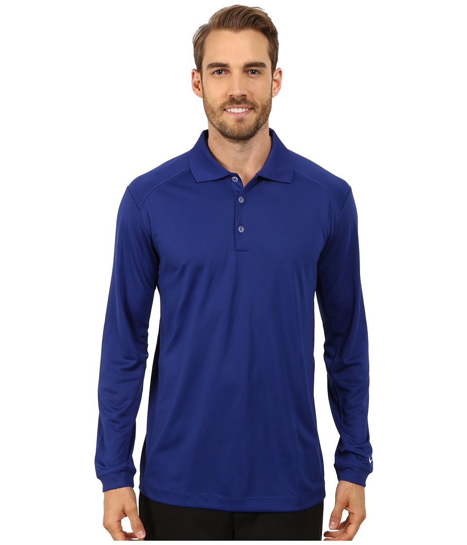 Nike Golf - UV Nike Victory L/S Polo (Deep Royal Blue/White) Men's Long Sleeve Pullover