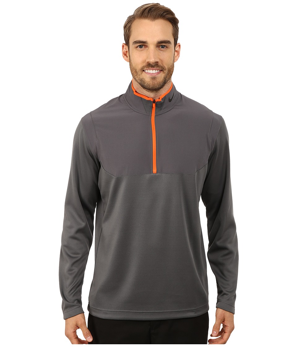 Nike Golf - Dri-Fit 1/2-Zip Top (Dark Grey/Dark Grey/Electro Orange/Anthracite) Men's Long Sleeve Pullover