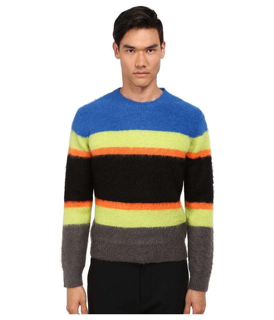 Marc by Marc Jacobs Fuzzy Stripe Sweater (Palace Blue Mutli) Men