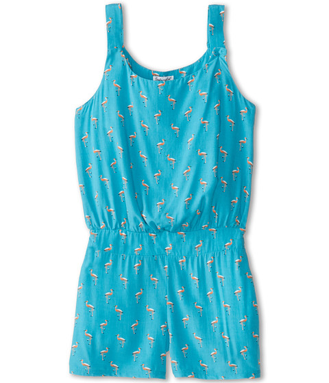 Splendid Littles - Flamingo Print Romper (Little Kids) (Turquoise) Girl's Jumpsuit & Rompers One Piece