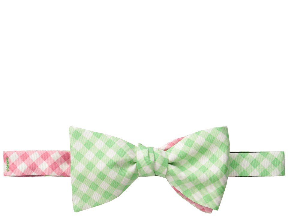 Vineyard Vines - 2 Panel Gingham Printed Bow Tie (Pink) Ties