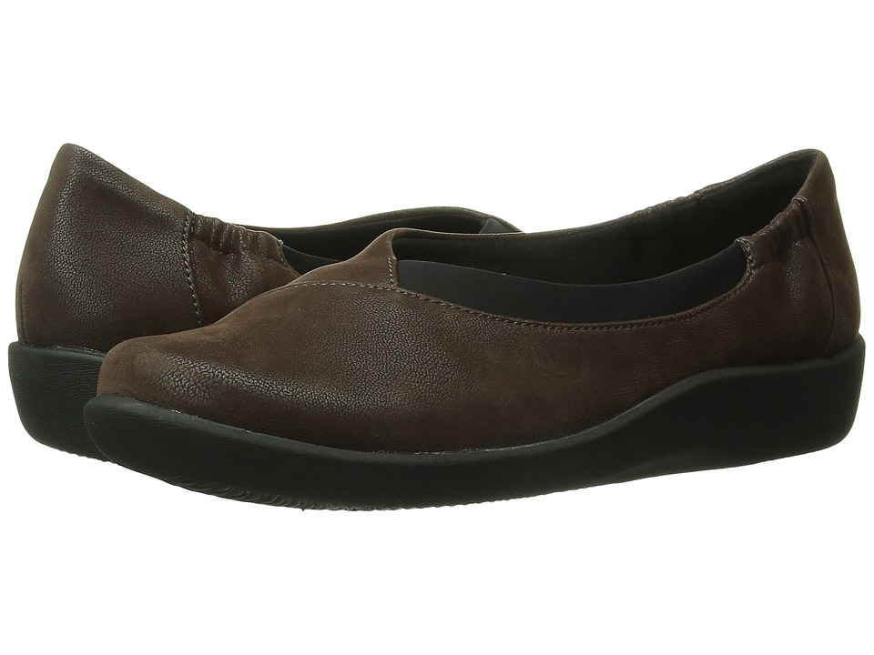 Clarks - Sillian Jetay (Dark Brown) Women's Slip on Shoes