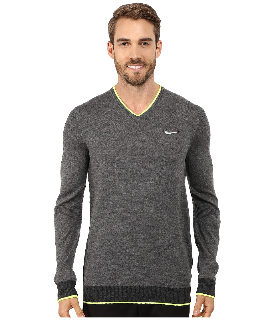 Nike Golf - Engineered Knit 3D Sweater (Charcoal Heather/Black Heather/Volt/Wolf Grey) Men's Sweater
