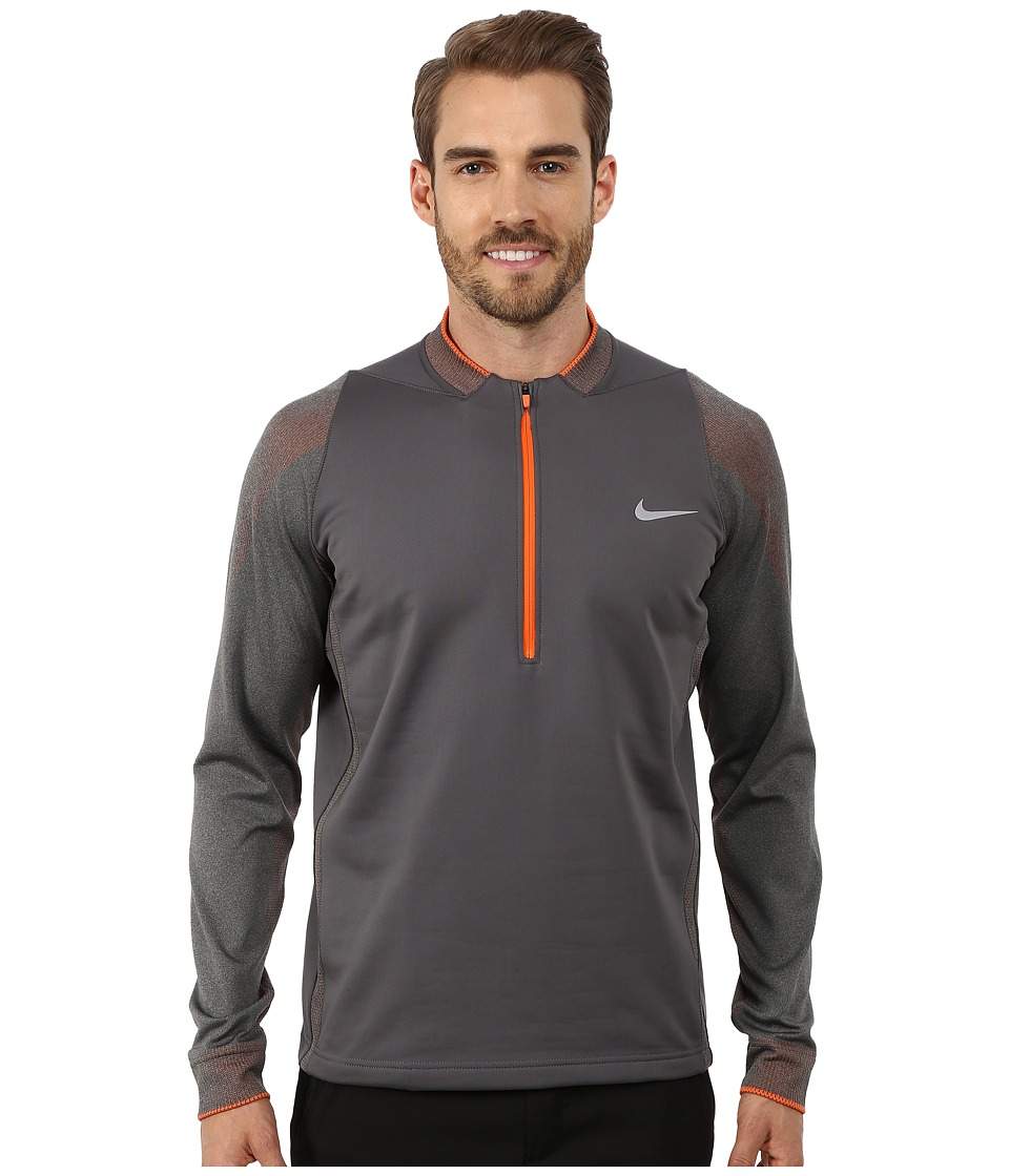 Nike Golf - Therma-Fit 3D Engineered 1/2 Zip (Dark Grey/Charcoal Heather/Electro Orange/Wolf Grey) Men's Clothing