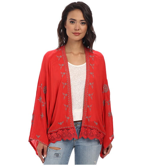 Free People - Embroidered Kimono Jacket (Fire Red Combo) Women
