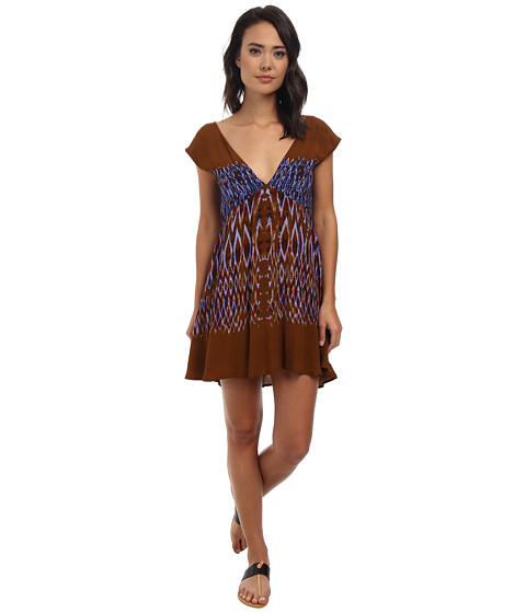 Free People - Theodora Babydoll Dress (Amber Coral) Women's Dress
