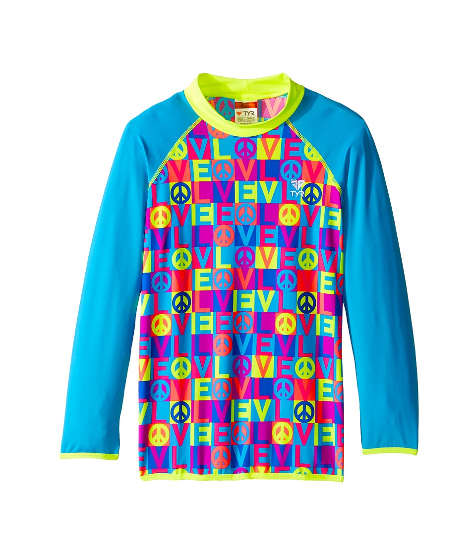 TYR - Peace Love Rashguard (Little Kids/Big Kids) (Blue/Pink) Women's Swimwear