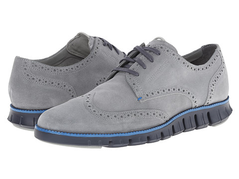 Cole Haan - Zerogrand Dcon Wing Ox (Limestone Suede/Berkley Blue) Men's Lace Up Wing Tip Shoes