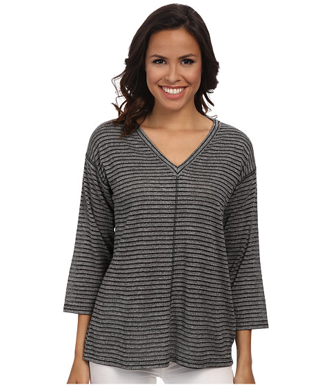 Jones New York - Shadow Stripe V-Neck Pullover (Black) Women's Clothing