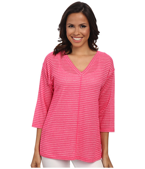 Jones New York - Shadow Stripe V-Neck Pullover (Azalea) Women's Clothing