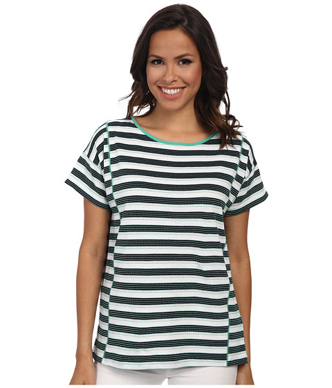 Jones New York - Stripe Short Sleeve Boxy Top (Jade Green Multi) Women's Clothing