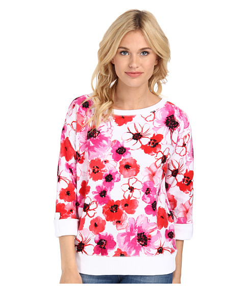 Jones New York - Floral Print Boat Neck Pullover (Azalea Multi) Women