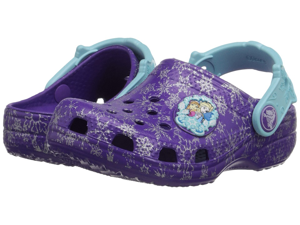 Crocs Kids - Classic Frozen Clog (Toddler/Little Kid) (Neon Purple) Girls Shoes
