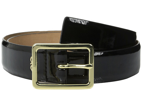 Cole Haan - 35mm Soft Patent Panel Belt (Black) Women's Belts