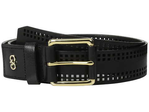 Cole Haan - 42mm High Shine Veg Panel with Square Perferated Detail Belt (Black) Women