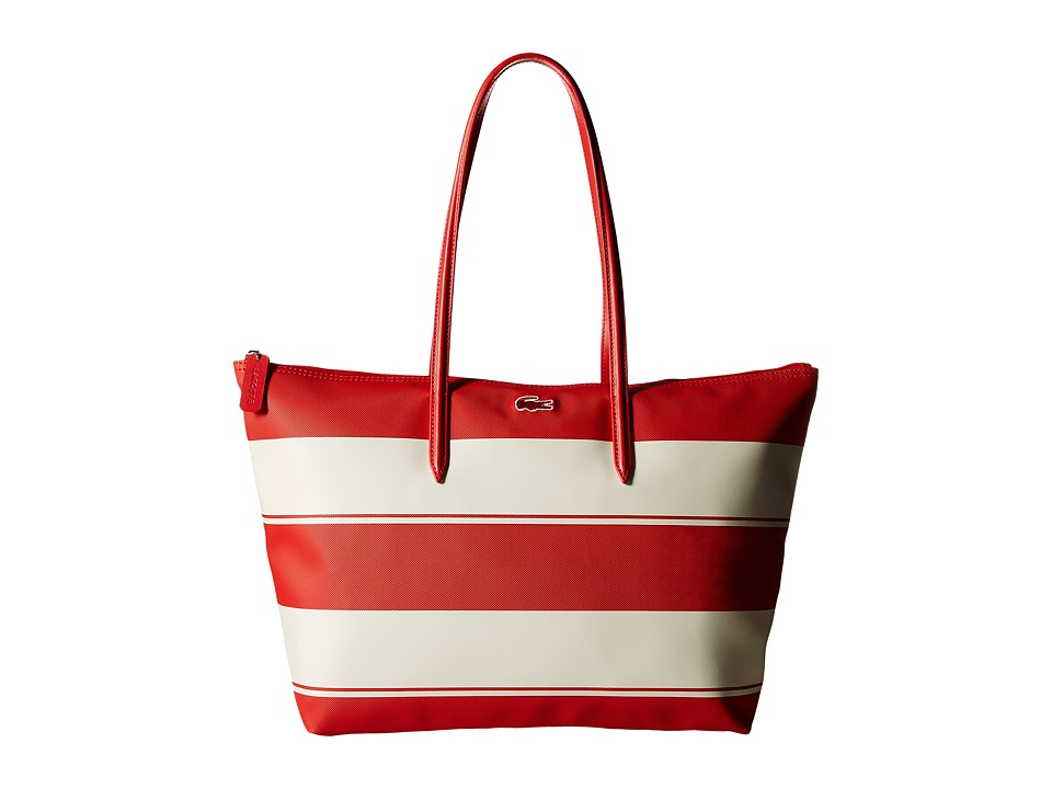 Lacoste - L1 Large Shopping Bag WIT (Aurora Red Stripe) Wristlet Handbags