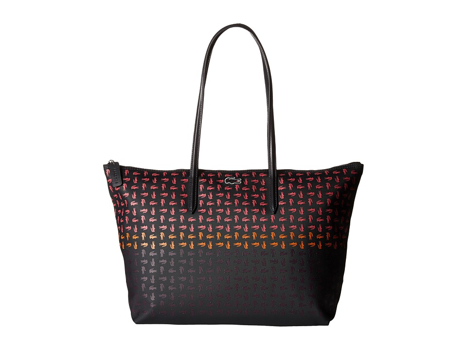 Lacoste - L.12.12 Concept Multi Croc Horizontal Tote (Anthracite Honeysuckle) Tote Handbags