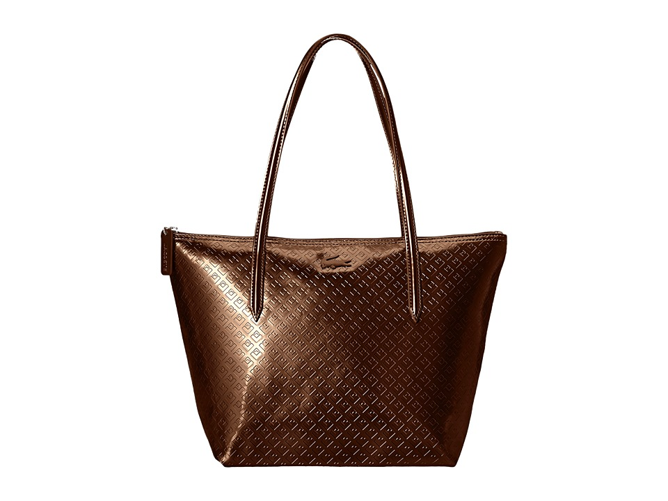 Lacoste - L.12.12 Concept Shiny Tote Bag (Coffee Bean) Tote Handbags