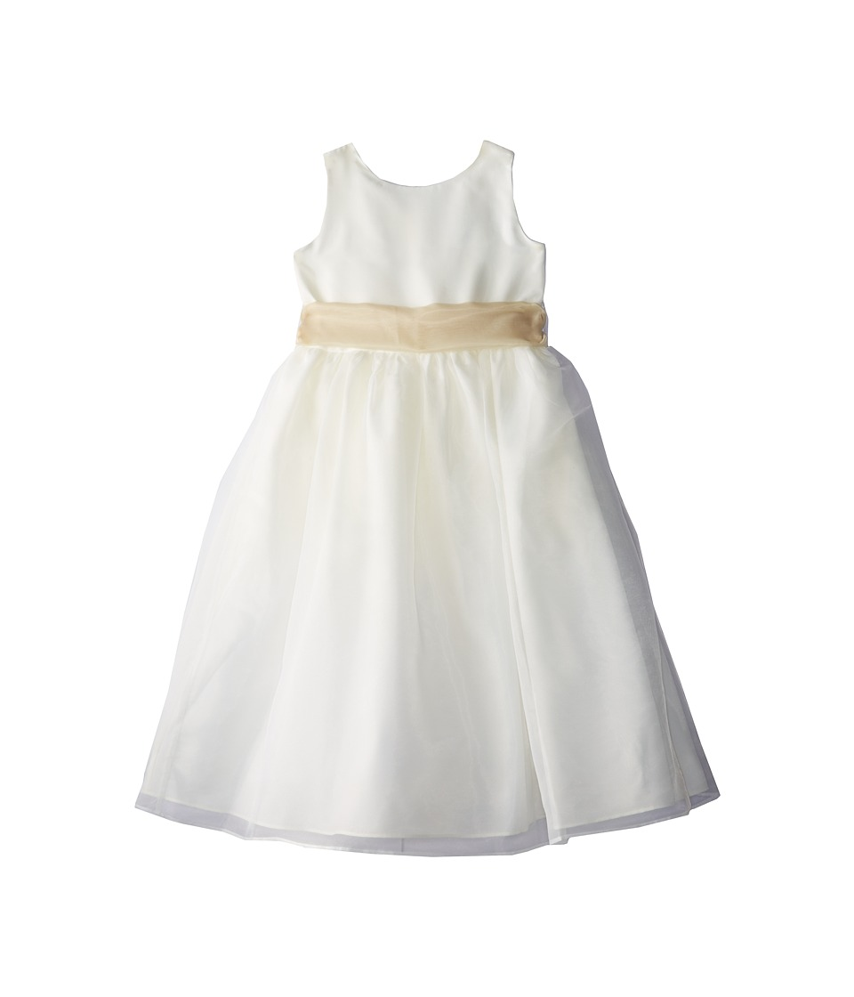 Us Angels - Sleeveless Organza Dress (Big Kids) (Champagne) Girl's Dress