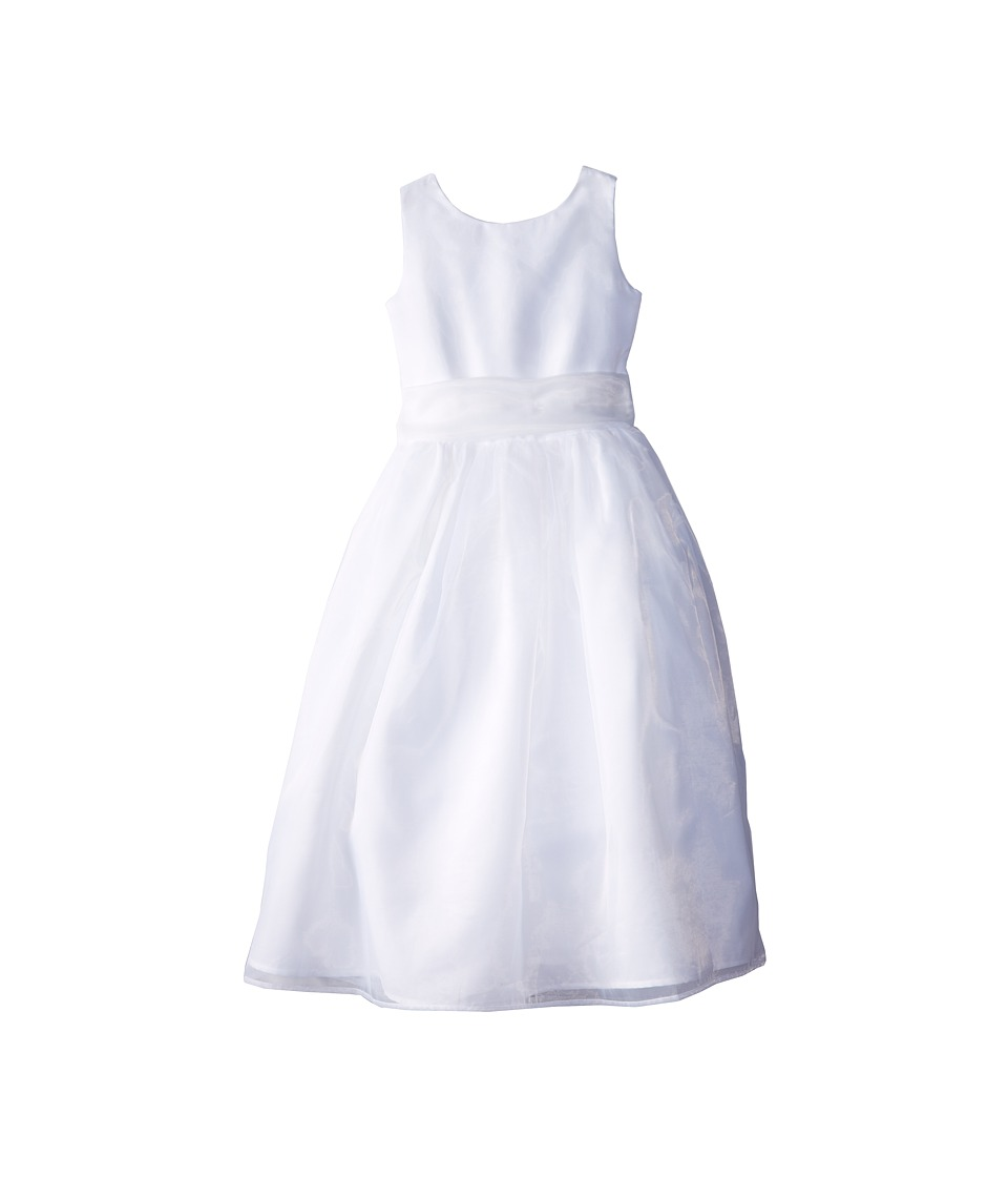 Us Angels - Sleeveless Organza Dress (Big Kids) (White 1) Girl's Dress