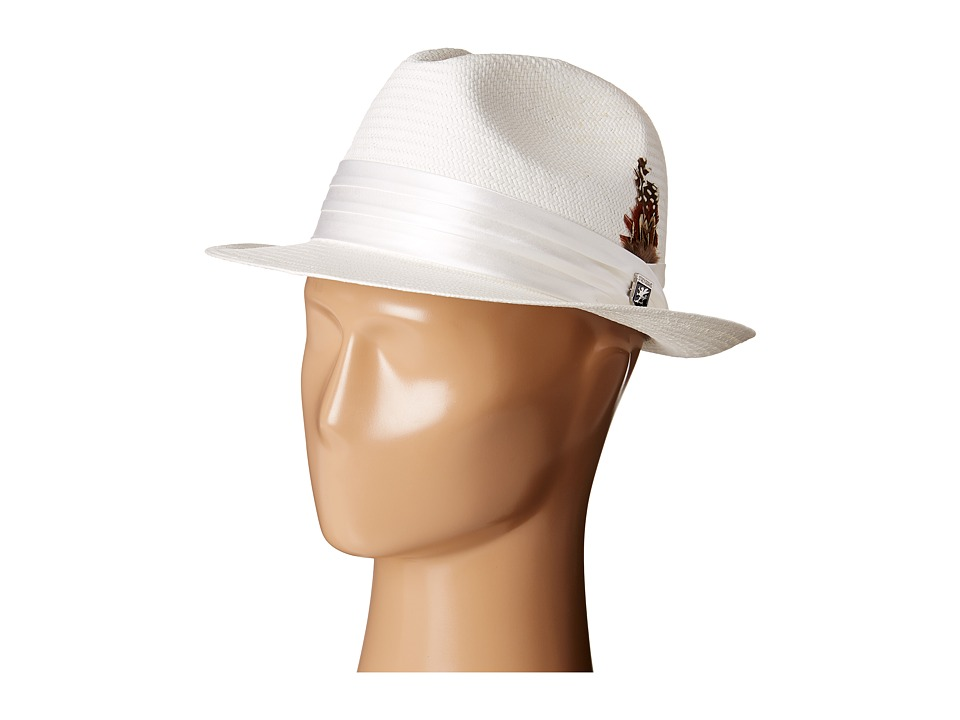 Stacy Adams - Toyo Fedora with Snap Brim and 3 Pleat Silk Band (White) Fedora Hats