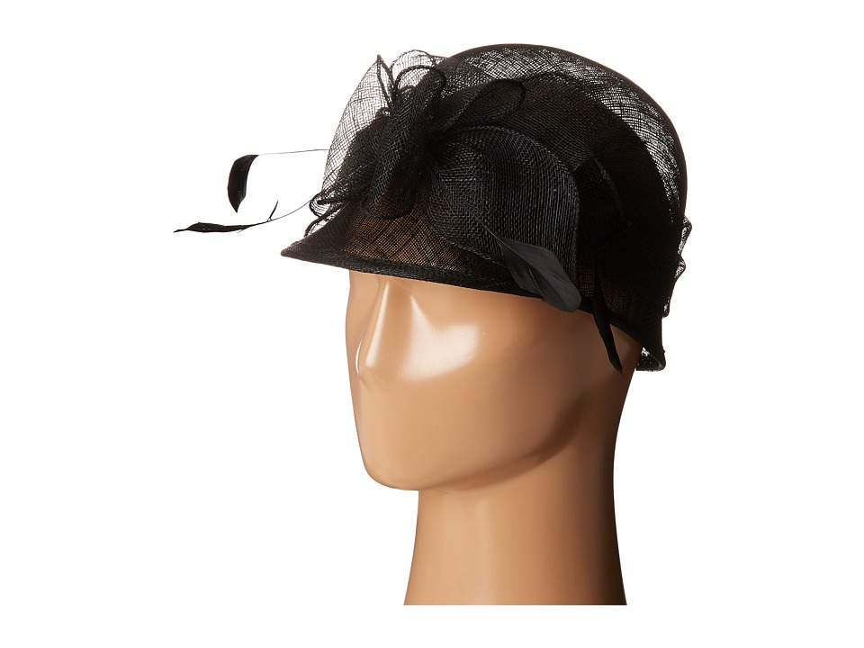 SCALA - Sinamay Cloche with Bow and Feathers Trim (Black) Caps