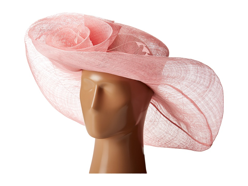 SCALA - Sinamay Split Brim with Flower and Feather Trim (Pink) Caps