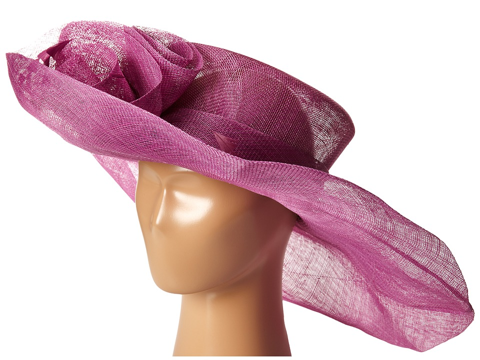 SCALA - Sinamay Split Brim with Flower and Feather Trim (Orchid) Caps