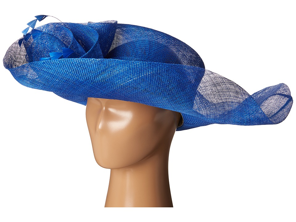 SCALA - Sinamay Split Brim with Flower and Feather Trim (Royal) Caps