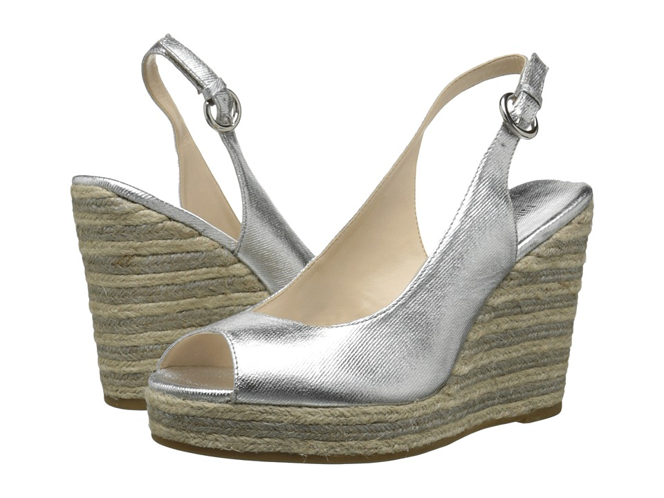 Nine West - Forevryung (Silver Synthetic) Women's Wedge Shoes