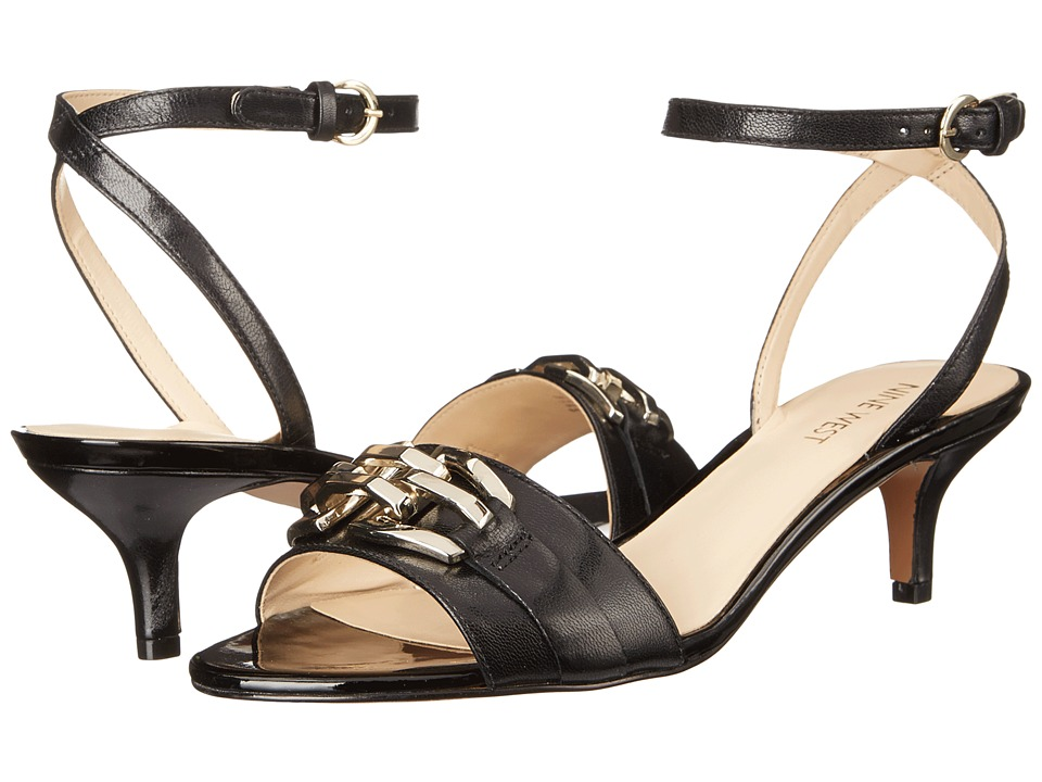 Nine West Yellitout Black Leather Womens Sandals