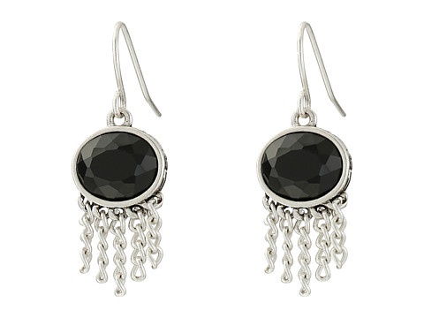 The Sak - Oval Fringe Drop Earrings (Black/Silver) Earring