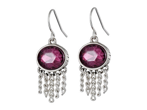 The Sak - Oval Fringe Drop Earrings (Fuchsia) Earring