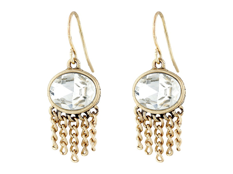 The Sak - Oval Fringe Drop Earrings (Crystal/Gold) Earring