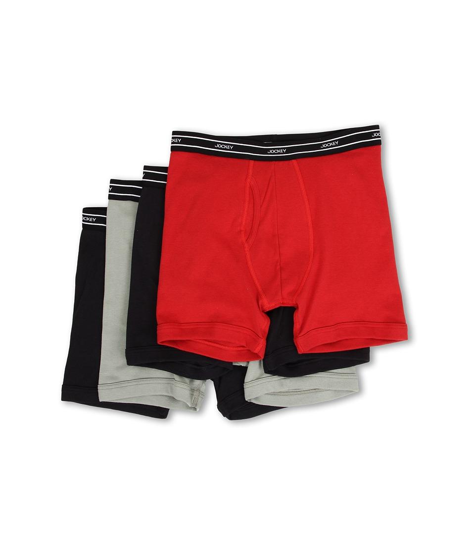 Jockey - Low-Rise Boxer Brief 4-Pack (Midnight Navy/Stone Green/Teaberry) Men's Underwear