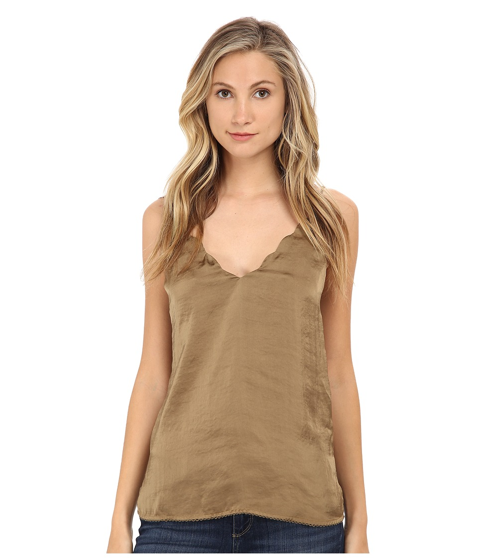 Free People - Sensual Satin Scallop Deep-V Cami (Fatigue) Women's Sleeveless