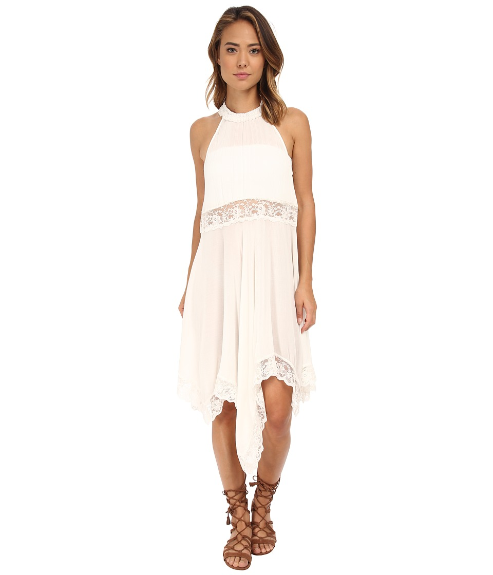 Free People Go Lightly Gauze Lace Lots of Layers Slip Ivory Dress