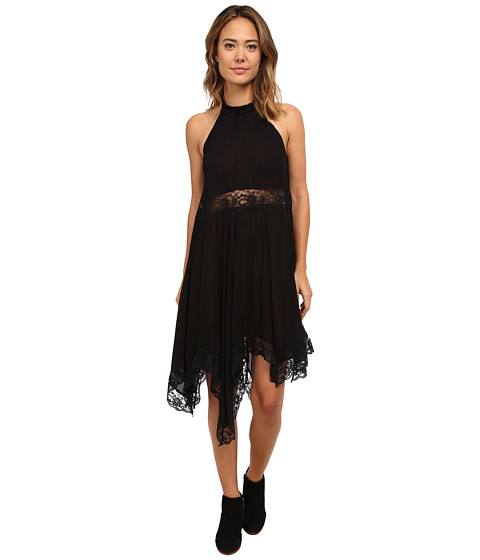 Free People - Go Lightly Gauze Lace Lots of Layers Slip (Black) Women's Dress
