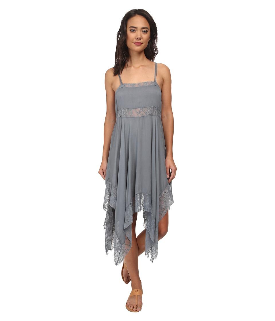 Free People - Dobby Dot Lace Pieced Trapeze Slip (Vapor Blue) Women's Dress