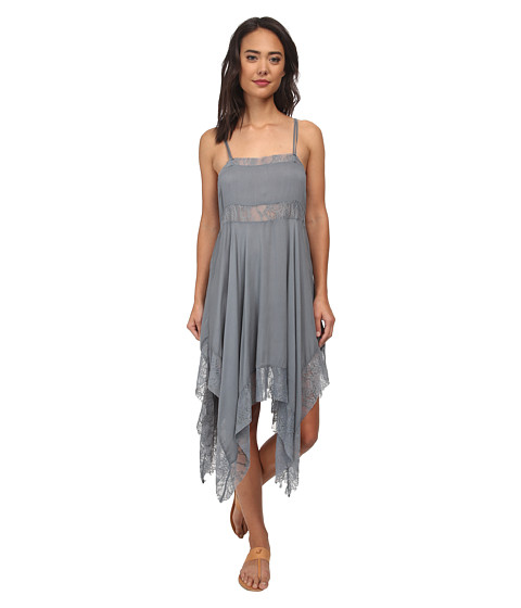 Free People - Dobby Dot Lace Pieced Trapeze Slip (Vapor Blue) Women
