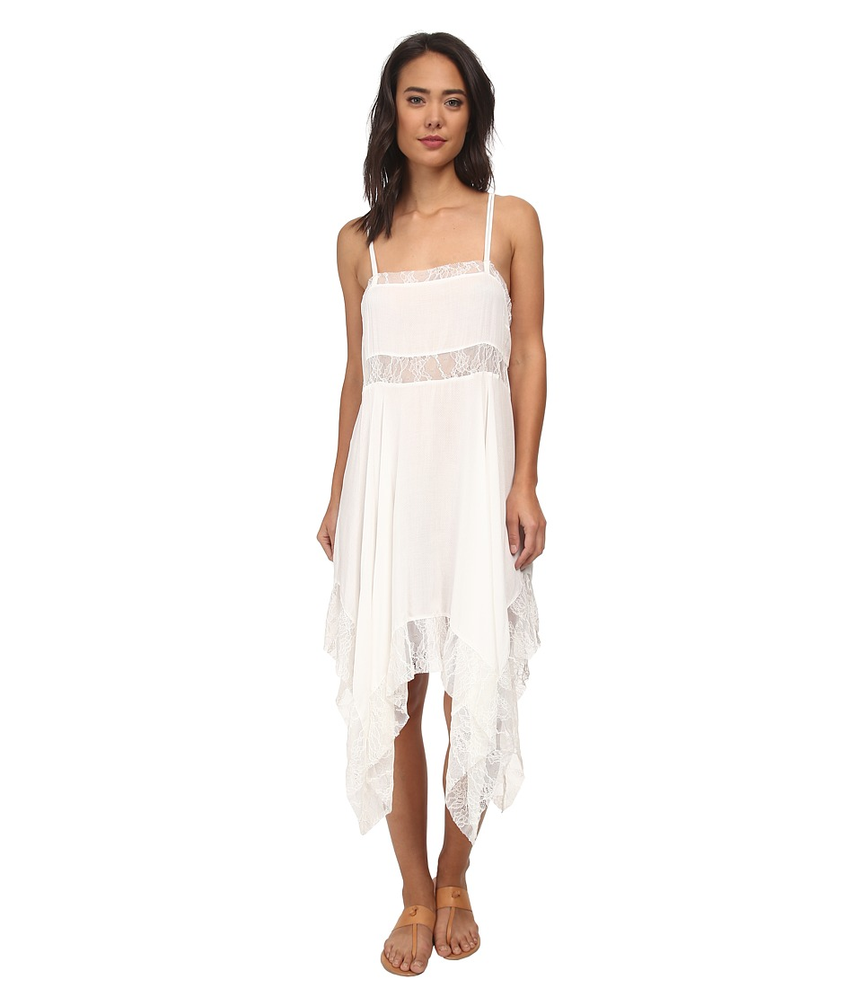Free People - Dobby Dot Lace Pieced Trapeze Slip (Ivory) Women