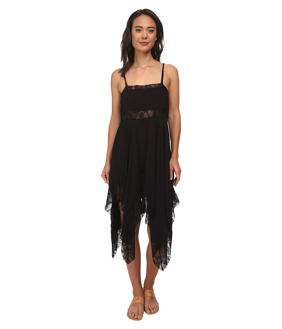 Free People - Dobby Dot Lace Pieced Trapeze Slip (Black) Women