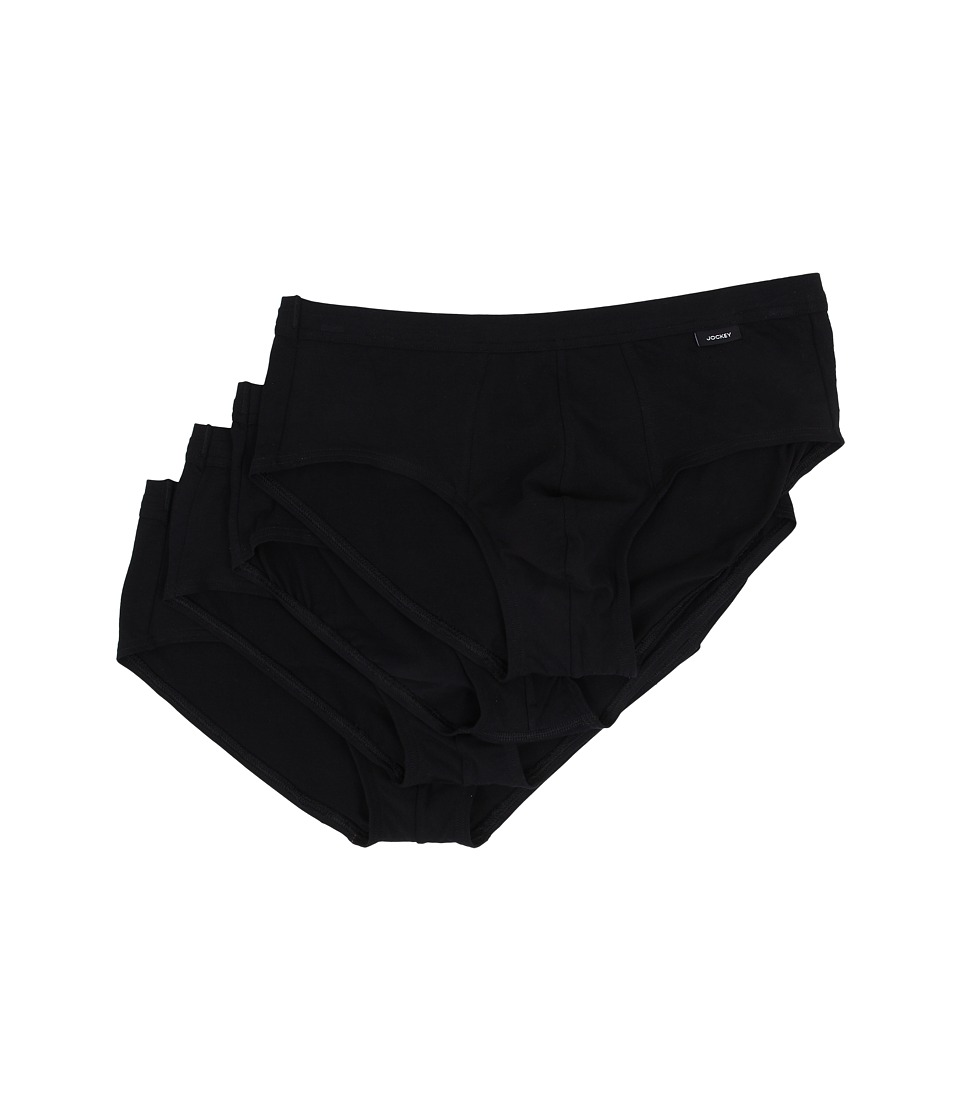 Jockey - Cotton Low Rise Stretch Brief 4-Pack (Black) Men's Underwear