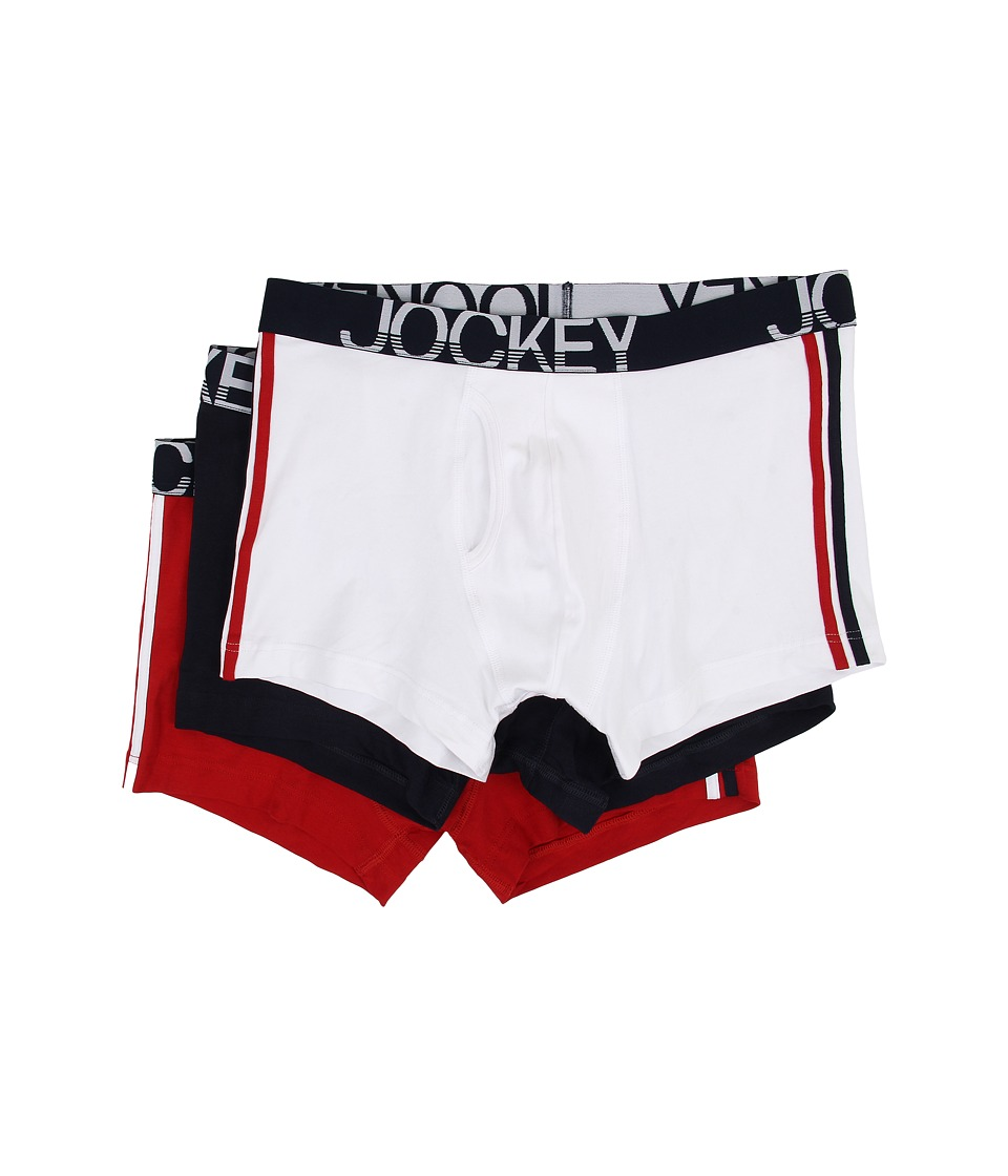 Jockey - Cotton Low Rise Stretch No Ride Boxer Brief 3-Pack (Diamond White/True Navy/Wordly Red) Men's Underwear