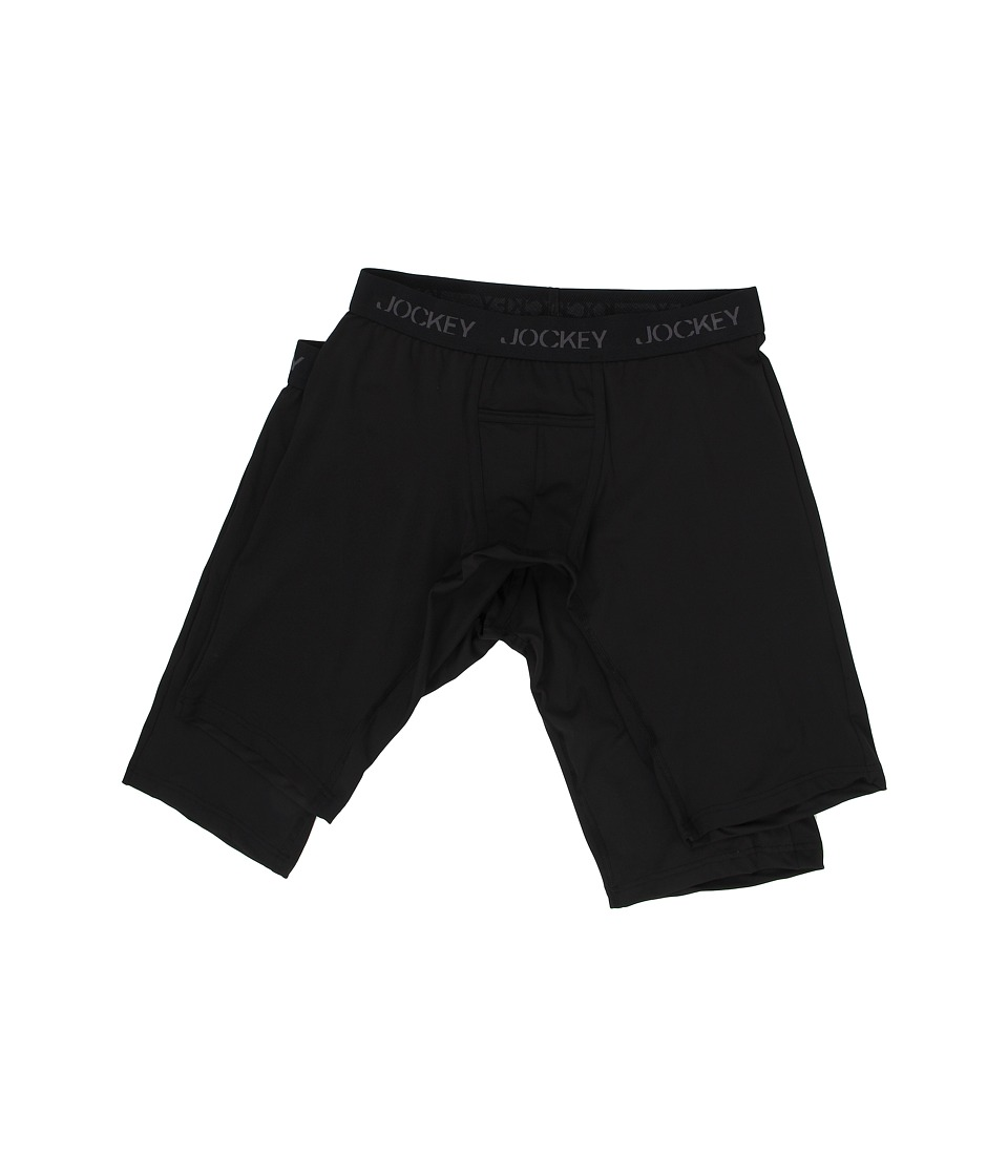 Jockey - Microfiber Performance Quad Shorts 2-Pack (Black) Men's Underwear