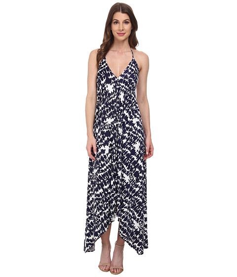 Tbags Los Angeles - Triangle Halter Scarf Hem Maxi Dress (Print) Women