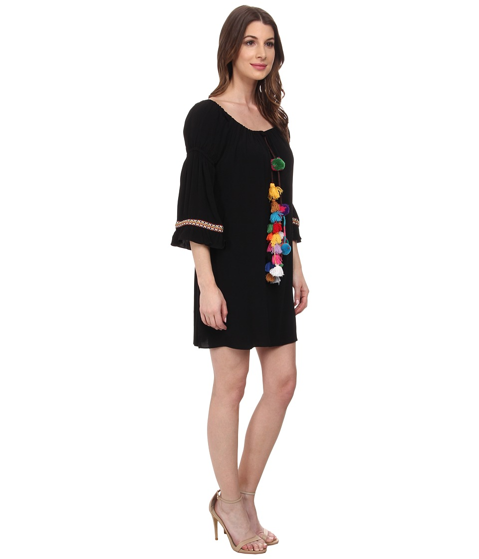 Tbags Los Angeles - Boho 3/4 Bell Sleeve Dress (Black) Women