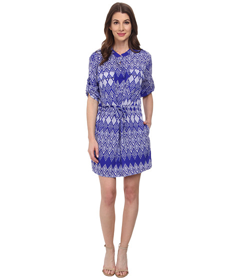 Tbags Los Angeles - Woven Tunic Dress w/ Cinched Waist Pocket (Print) Women's Dress