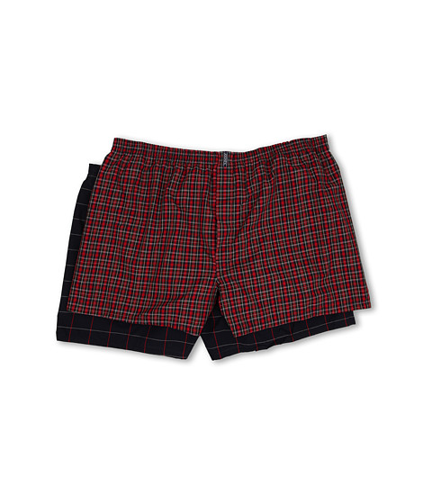 Jockey - Big Man Classic Full Cut Blended Boxer 2-Pack (Classic Red Tartan/Navy Windowpane) Men's Underwear