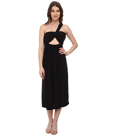 Tbags Los Angeles - One Shoulder Strap Front Cutout Bandeau Dress (Black) Women's Dress